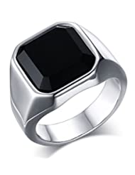 Mealguet Jewelry Fashion Stainless Steel Signet Ring Band with Black Agate for Men