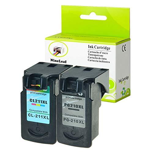 (NineLeaf Remanufactured Ink Cartridge Replacement for Canon PG-210XL CL-211XL PIXMA MP495 IP2700 MP490 MP480 MP280 MX330 MX340 XM410 MX420 MX350 Printer (1 Black 1 Tri-Color,2 Pack))