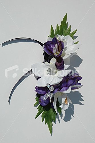 Gorgeous Purple Delphinium and White Orchid Corsage