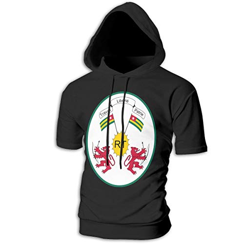 X-JUSEN Men's Coat of Arms of Togo National Emblem Short Sleeve Hoodies Hooded Pullover Costumes Kit]()
