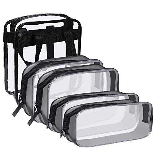 Selizo 5Pcs Waterproof Clear Toiletry Bag with 2 Pcs TSA Approved Travel Bag and 2 Pcs Make Up Pouch for Toiletry Cosmetics Travel