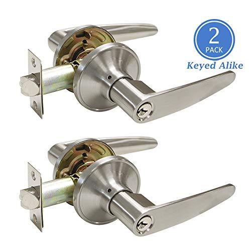 Universal Straight Door Lock Levers, Satin Nickel Finish Entry Door Handle Set Keyed Alike Door Lockset, Right/Left Handed, Combo Pack of 2