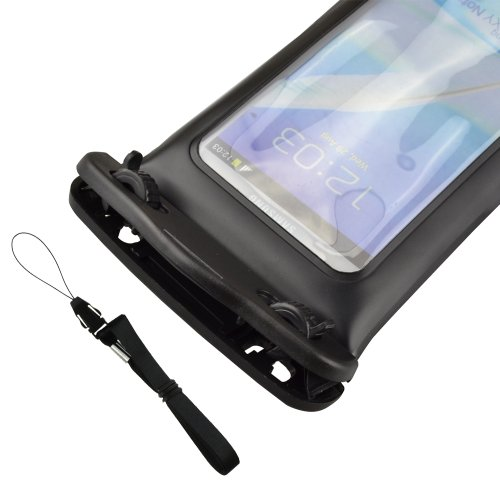 Colorful Sealed Waterproof case with a black lanyard for Underwater Swimming/Sports/Surfing/Skiing/Fishing, Protects Galaxy Note 2,Also fits other Large Smartphones