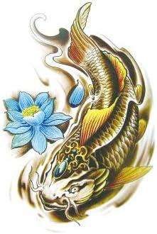 Oottati Tatuajes Temporales Muslo Brazo Carpa Dorada Lotus De Koi ...