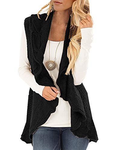 Womens Sweater Vest Plus Size Cable Knit Open Front Cardigans Fall