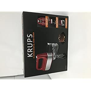 KRUPS GN4925 Quiet 10 Speed Hand Mixer with Turbo Boost Stainless Steel Accessories and Count Down Timer, Red