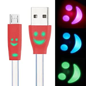 7-colors Luminescence Micro 5 Pin USB Charge / Data Transfer Cable with Smile Face, Suitable for Samsung Galaxy S6 / S IV / i9500 / i9200 / i9300 (Red)
