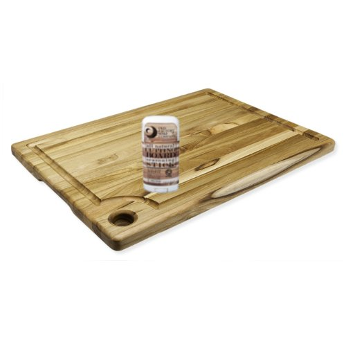 Proteak Marine Collection Edge Grain Teak Rectangular 18 x 14 Inch Cutting Board with Seasoning Stick
