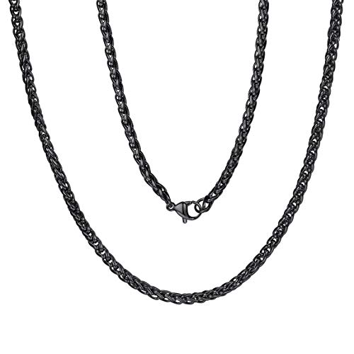 Black Metal Link Chain 3mm 24 inch Stainless Steel Wheat Chain Necklace Male Gift ()
