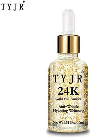 24K Gold Foil Hyaluronic Acid Moisturizing Whitening Essence,Anti Wrinkle Firm Fine Lines Moisturizing & Whitening Collagen Hyaluronic Serum Liquid Face Skin Care Essence.0.34Fl Oz