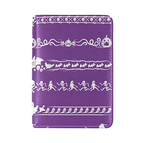 Set Of Halloween Borders Genuine Leather UAS Passport Holder Cover Travel Case -
