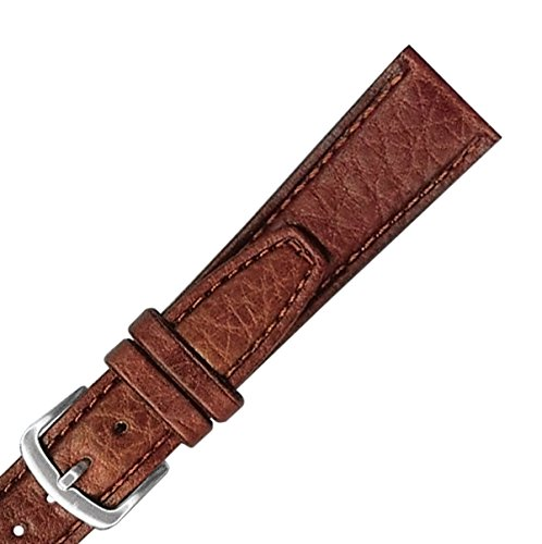 Hadley Roma MS788 18mm Long Brown Stitched Shrunken Grain Leather Watch Band (Shrunken Leather)