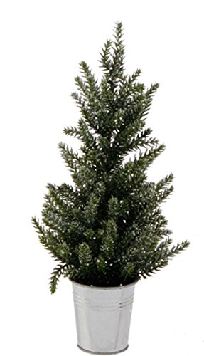 Faux Pine Glittered Tabletop Christmas Tree in Bucket Holiday Decoration, 13 Inch (Tree Bucket In Artificial Christmas)