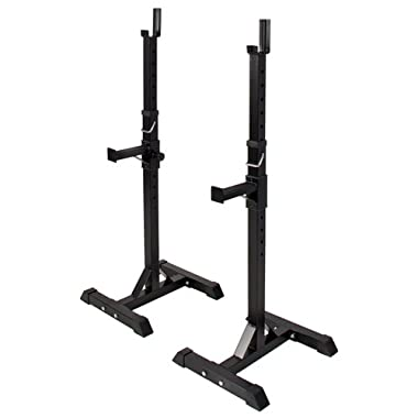 Pair of Adjustable Standard Solid Steel Squat Stands Barbell Free Bench Press Stands