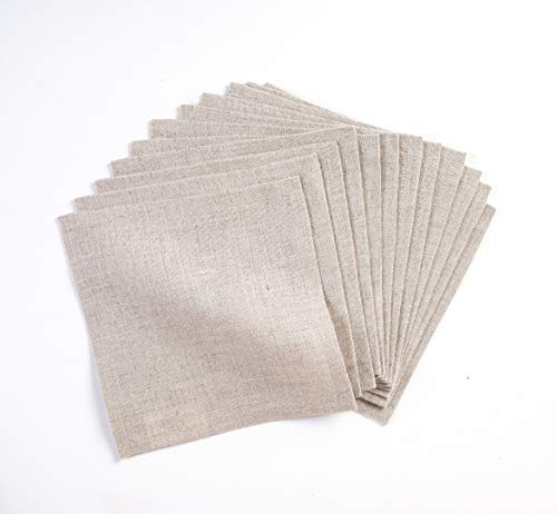 Solino Home Linen Cocktail Napkin - 6 x 6 Inch, Set of 12-100% Natural Fabric Handcrafted Machine Washable Athena - Natural