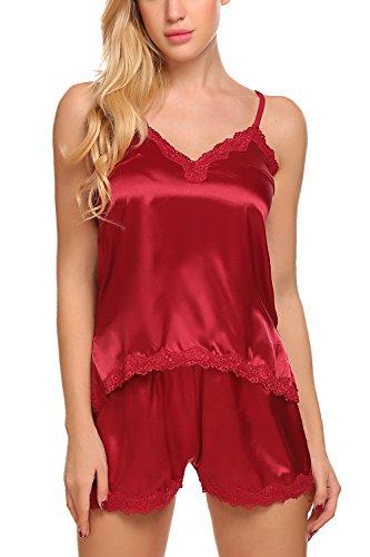 ADOME Womens Camisole Short Set 2 Pieces Satin Pajamas Irregular Chemise Sleepwear,Style 1:dark Red,XX-Large by ADOME (Image #4)