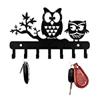 Sehaz Artworks Decorative metel Wall Hooks for Keys   7 Hook 2-Owls Wall Rack   Hooks Rack/Holder for Kitchen Utensil   Wall Mounted Key Holder Key Rack Key Hanger   Bathroom Towel Hooks   Hat Rack
