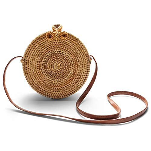 Vulpen Natural Handwoven Round Rattan Shoulder Crossbody Bag - Boho Circle Bag with Leather Straps