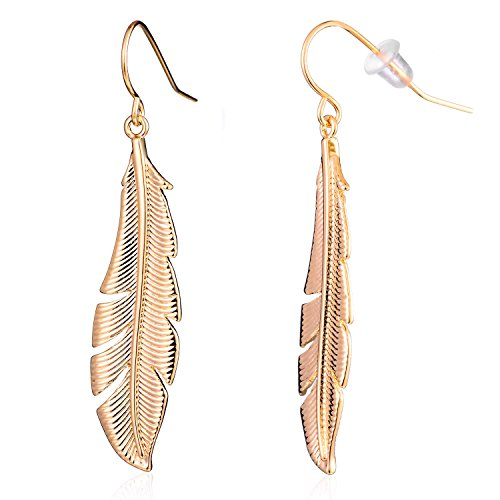 Antique Gold Silver Autumn Leaves Feather Drop Earring (GLD)