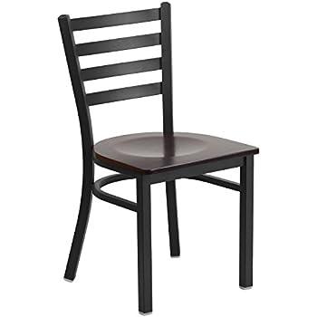 Flash Furniture HERCULES Series Black Ladder Back Metal Restaurant Chair    Walnut Wood Seat