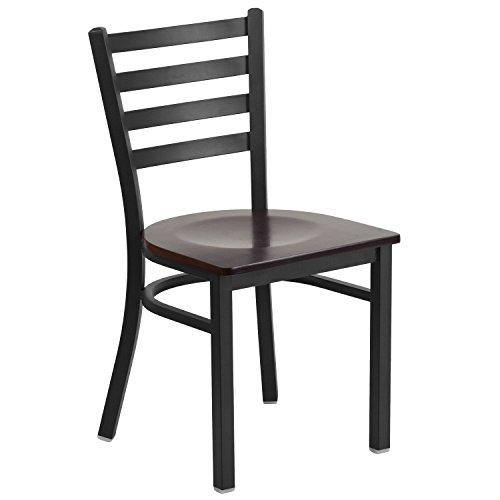 (Flash Furniture HERCULES Series Black Ladder Back Metal Restaurant Chair - Walnut Wood Seat)