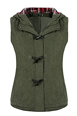 Finejo Women Fashion Hooded Gilet Jacket Zip Up Front Quilted Padded Vest