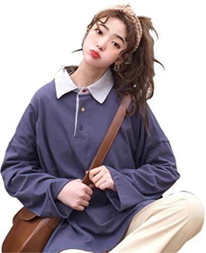 [サ二ー] レディース 長袖 コットン ポロシャツ Vネック スポーツウェア 吸汗速乾 ゴルフ ゆったり 無地 おしゃれ かわいい