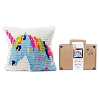 Sozo DIY Needlepoint Pillow Kit for Beginners. Cross Stitch Embroidery Kit for Kids. Complete Kit Includes Everything You Need to Create A Needlepoint Pillow
