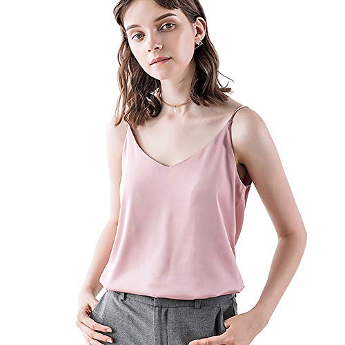 Bighand Cat Sexy Women's Silk Tank Top Ladies Camisole Silky Loose Sleeveless Blouse Tank Shirt with Soft Satin (Pink, Size S(Tag Size Asia XL))