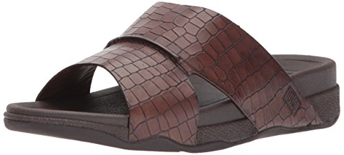 FitFlop Men's Bando Leather Croc Slide Sandal, Chocolate, 11 M US