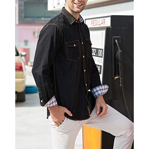 CAMS Mens Long Sleeve Denim Shirts Regular Fit Solid Denim Shirts Men