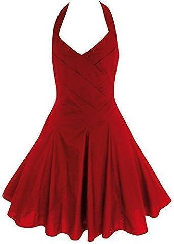Vintage Annees 40 Annees 50 Style Rockabilly Swing Pin Up Coton Dos Nu Robe De Soiree Tailles 6 18 Rouge 38 Amazon Fr Vetements Et Accessoires