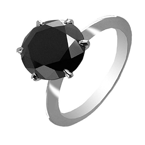 5.05 Cts Round Brilliant Cut Certified Black Diamond Solitaire Ring Gift for Valentine's Day by Barishh