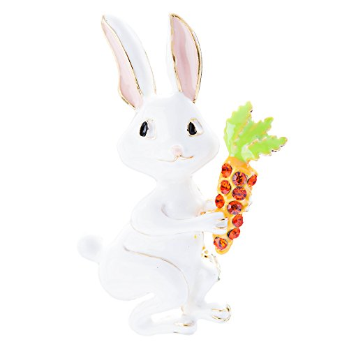 Spring Easter Jewelry Crystal Rhinestones White Bunny Rabbit Carrot Gold White