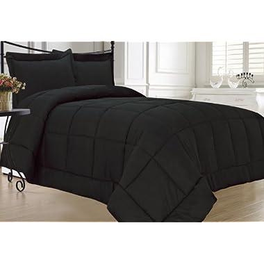 KingLinen Black Down Alternative Comforter Set, King, Black