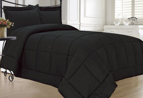 KingLinen Down Alternative 3 Pcs Comforter Set, Queen, Black (Bedroom All Black Set)