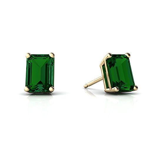 Emerald Ring 14kt Gold Jewelry (14kt Yellow Gold Lab Emerald 7x5mm Emerald_Cut Emerald-Cut Stud Earrings)