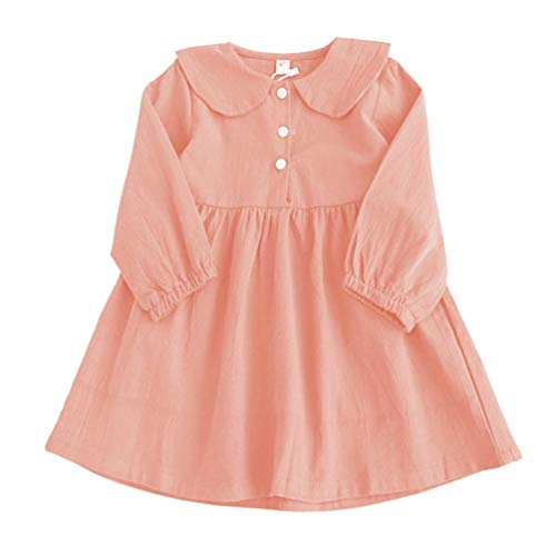 (Rysly Baby Girl Casual Cotton Long Sleeves Dress Catton Princess Dress for Infant Toddler Girls Pink)