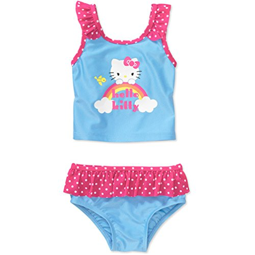Hello Kitty Little Girls' 2-Piece Rainbow Tankini - Blue (2T)