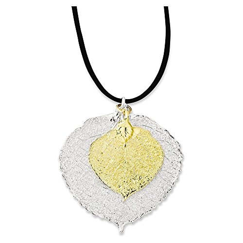 Italian Charms Silver/24k Gold Dipped Double Aspen Leaf N...