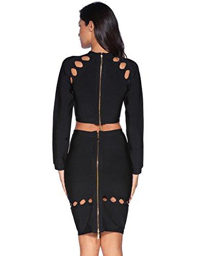 Meilun Women's Rayon 2 Pcs Long Sleeve Crop Top Split Skirt Set Bodycon Bandage Party Dress Large Black by Meilun (Image #1)