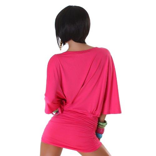 Ausschnitt Kleid Tiefem Style vielen Party IBIZA mit Tunika in tollen Mini Pink Sexy Farben Miami nw1SPqzwY