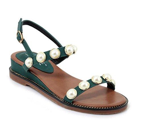 Chaussures Strass Femmes Ceinture Été Linyi Nouveau Artificielle Sandales Mesdames Green Boucle 54R3AjL