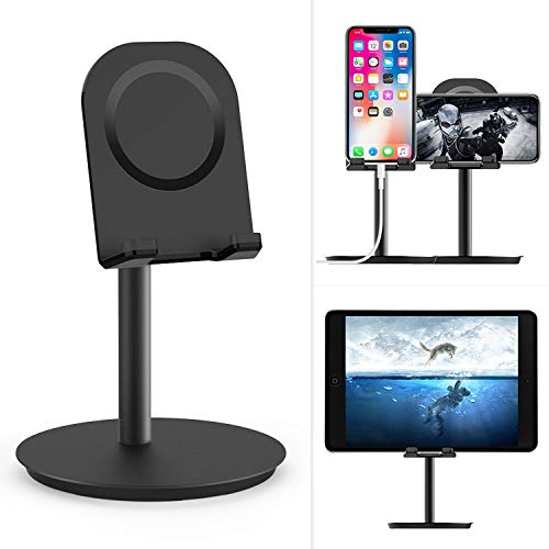 Cell Phone Stand, EURPMASK Cell Phone Stand Desktop Phone Stand Tablet Stand Adjustable Aluminum Cellphone Cradle Dock Holder Compatible with (i) Phone XS Max XR X 8 Plus and Android Smartphone