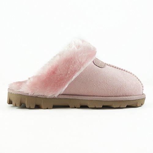 Clppli Kvinners Skli På Faux Fur Varme Vinter Muldyr Fluffy Semsket Komfortable Tøfler Rosa