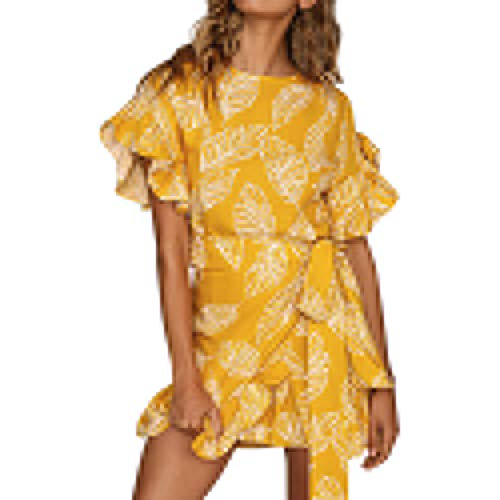 iZHH Womens Dress Sexy Leaves Printing Short Sleeve O Neck Dress Princess Dress ()