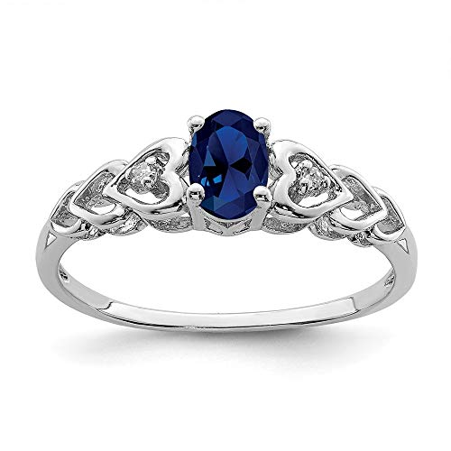 925 Sterling Silver Created Sapphire Diamond Band Ring Size 7.00 Set Birthstone September Gemstone Fine Jewelry Gifts For Women For Her