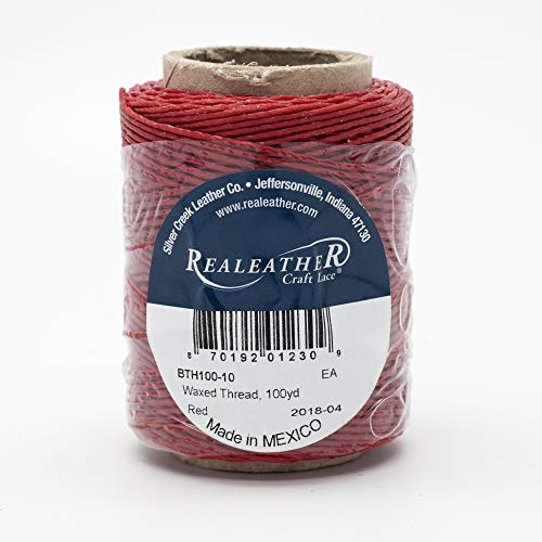 - Realeather BTH100-10 Waxed Thread, 50 g, Red
