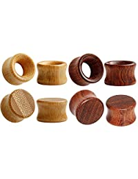 SUPTOP 8pcs Set Natural Wood Tunnels and Plugs for Ear Gauges Vintage Brown Stretcher 0g - 13/16 inch