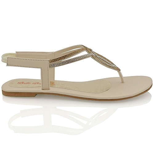 Essex Glam Womens Flat T-Bar Diamante Synthetic Slingback Toepost Sandals Nude aNKi5DYM